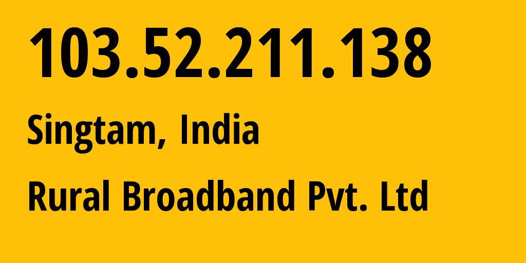 IP address 103.52.211.138 (Mumbai, Maharashtra, India) get location, coordinates on map, ISP provider AS134177 Rural Broadband Pvt. Ltd // who is provider of ip address 103.52.211.138, whose IP address