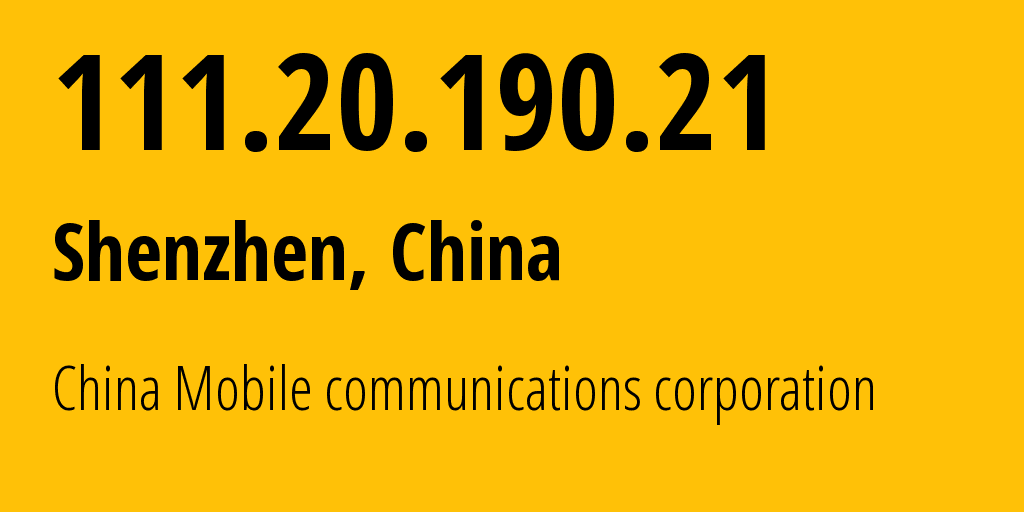 IP address 111.20.190.21 (Hanzhong, Shaanxi, China) get location, coordinates on map, ISP provider AS9808 China Mobile communications corporation // who is provider of ip address 111.20.190.21, whose IP address
