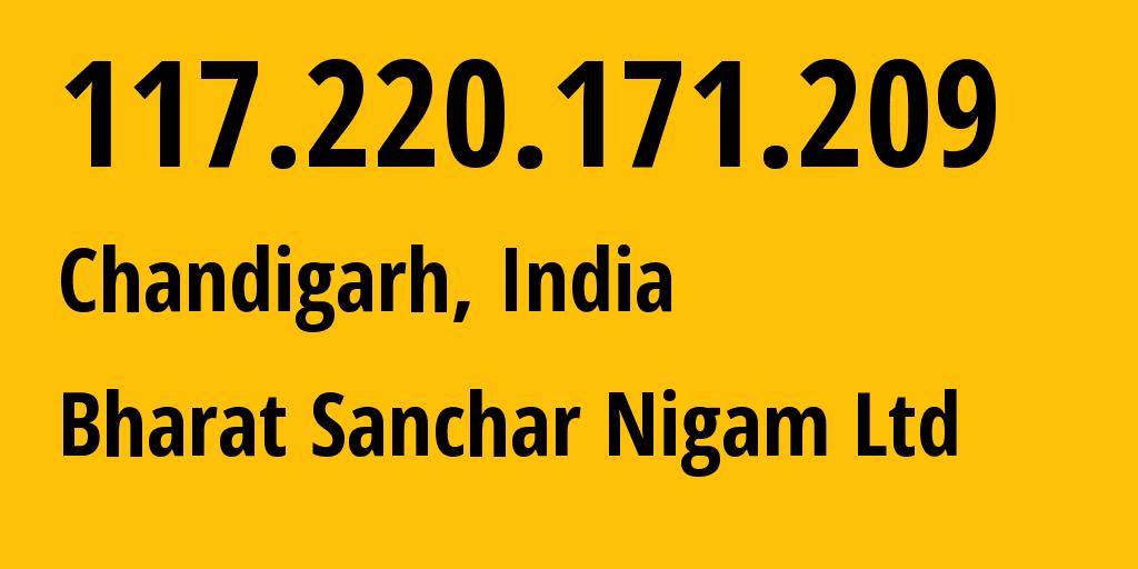 IP address 117.220.171.209 (Nuh, Haryana, India) get location, coordinates on map, ISP provider AS9829 Bharat Sanchar Nigam Ltd // who is provider of ip address 117.220.171.209, whose IP address
