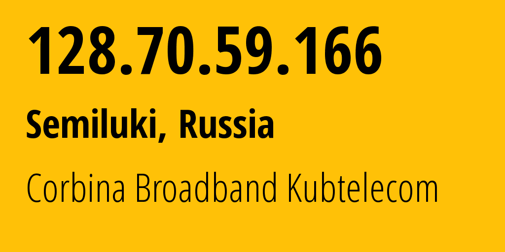IP address 128.70.59.166 (Voronezh, Voronezh Oblast, Russia) get location, coordinates on map, ISP provider AS3216 Corbina Broadband Kubtelecom // who is provider of ip address 128.70.59.166, whose IP address