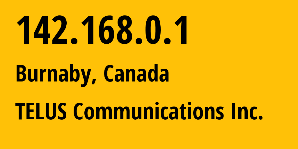 IP address 142.168.0.1 (Chicago, Illinois, United States) get location, coordinates on map, ISP provider AS TELUS Communications Inc. // who is provider of ip address 142.168.0.1, whose IP address