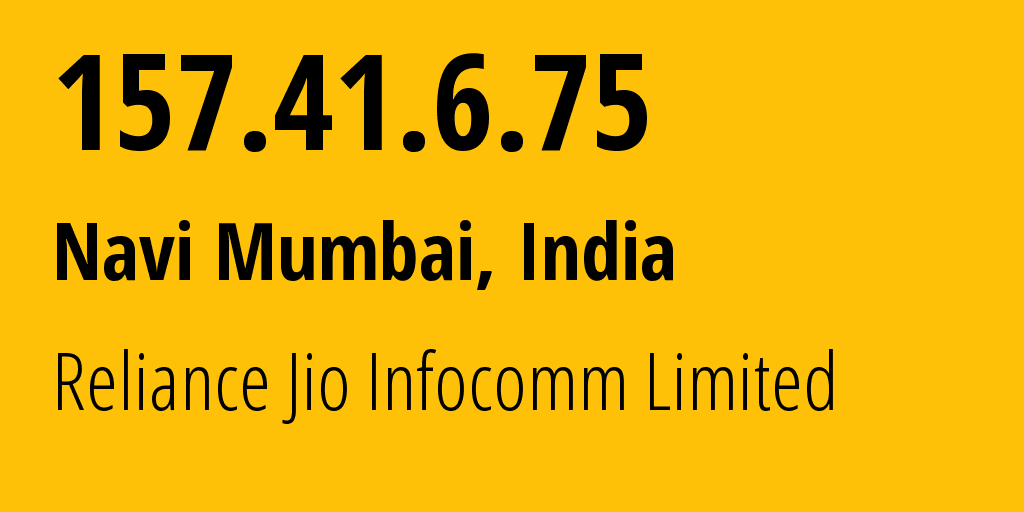 IP address 157.41.6.75 (Bhubaneswar, Odisha, India) get location, coordinates on map, ISP provider AS55836 Reliance Jio Infocomm Limited // who is provider of ip address 157.41.6.75, whose IP address