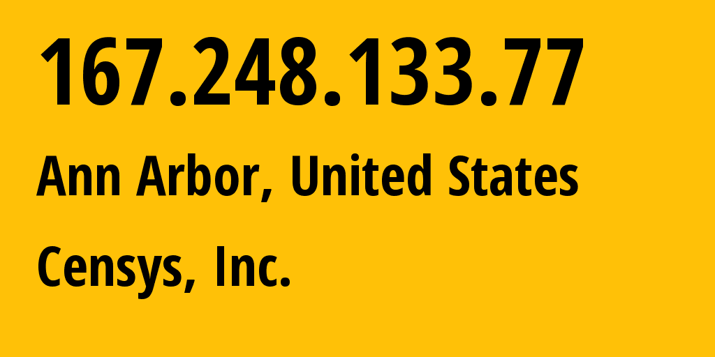 IP address 167.248.133.77 (Ann Arbor, Michigan, United States) get location, coordinates on map, ISP provider AS398722 Censys, Inc. // who is provider of ip address 167.248.133.77, whose IP address