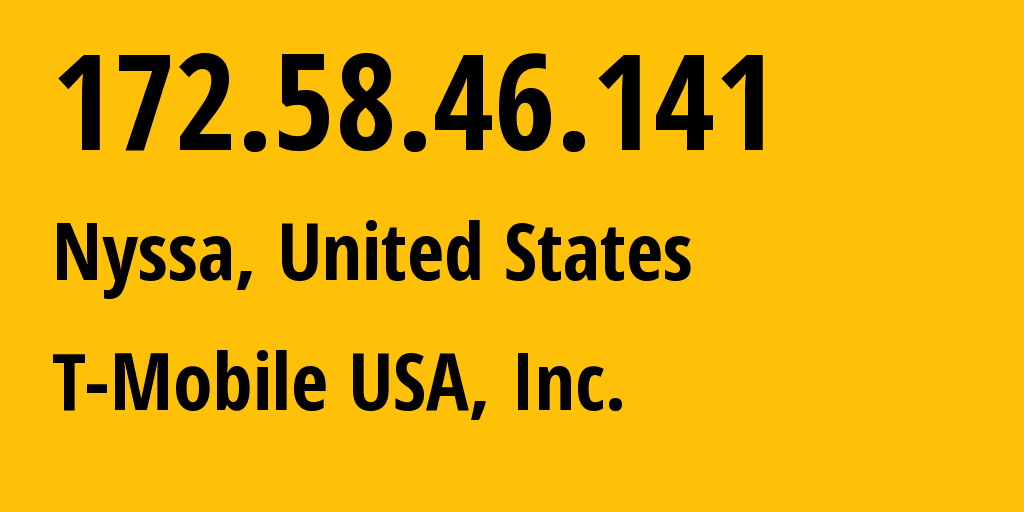IP address 172.58.46.141 (Monroe North, Washington, United States) get location, coordinates on map, ISP provider AS21928 T-Mobile USA, Inc. // who is provider of ip address 172.58.46.141, whose IP address
