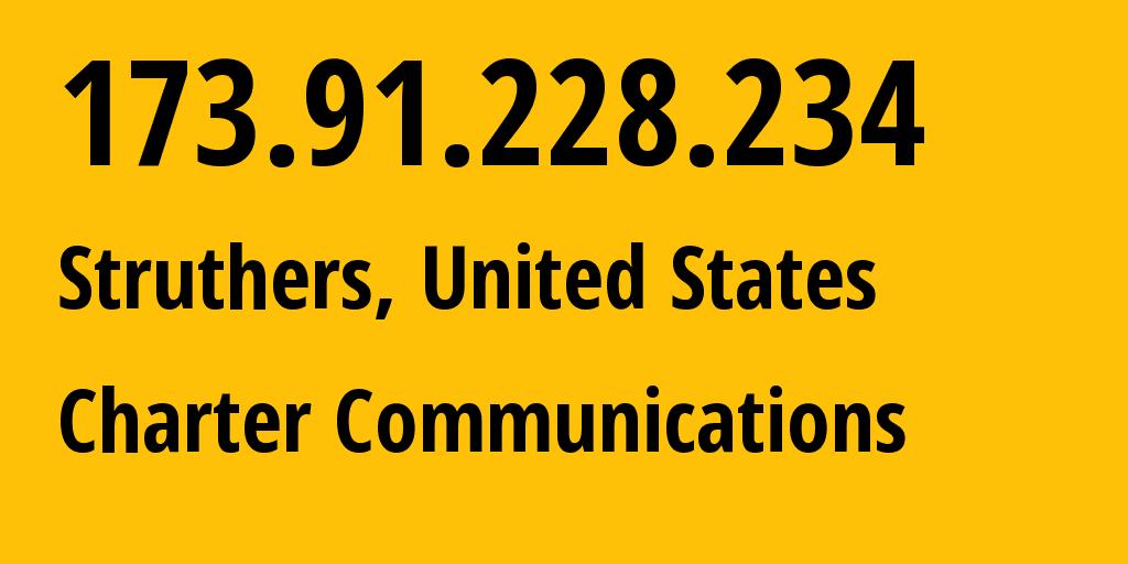 IP address 173.91.228.234 (Struthers, Ohio, United States) get location, coordinates on map, ISP provider AS10796 Charter Communications // who is provider of ip address 173.91.228.234, whose IP address