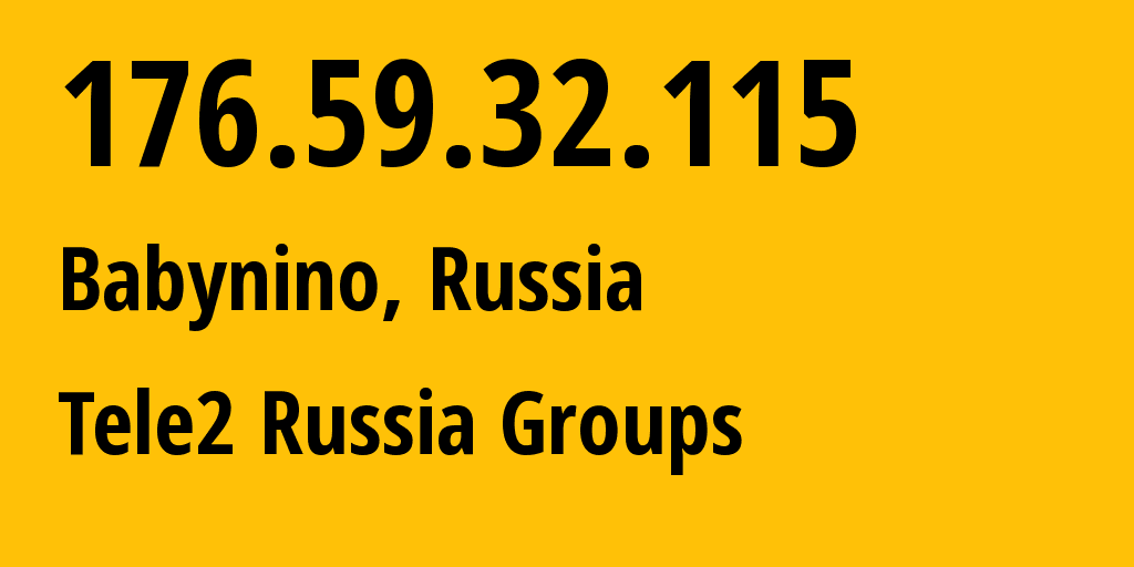 IP address 176.59.32.115 (Moscow, Moscow, Russia) get location, coordinates on map, ISP provider AS12958 Tele2 Russia Groups // who is provider of ip address 176.59.32.115, whose IP address