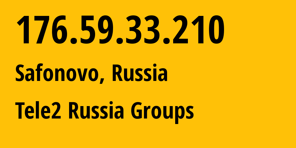 IP address 176.59.33.210 (Moscow, Moscow, Russia) get location, coordinates on map, ISP provider AS12958 Tele2 Russia Groups // who is provider of ip address 176.59.33.210, whose IP address