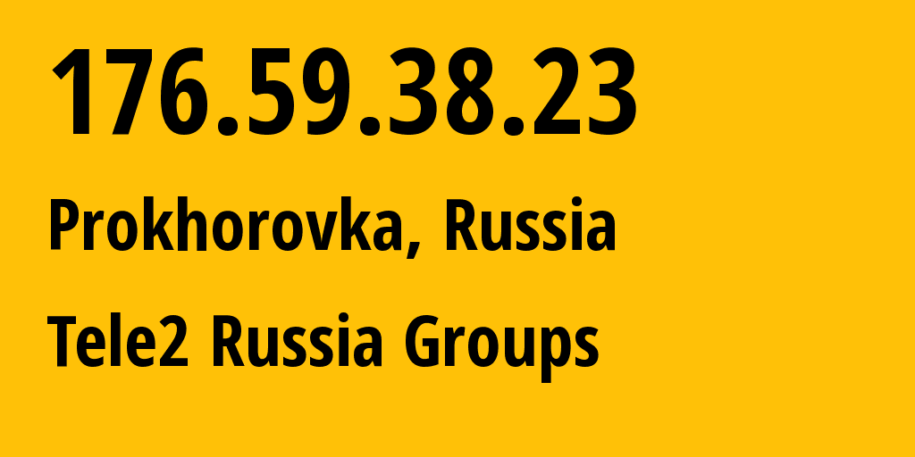 IP address 176.59.38.23 (Moscow, Moscow, Russia) get location, coordinates on map, ISP provider AS12958 Tele2 Russia Groups // who is provider of ip address 176.59.38.23, whose IP address