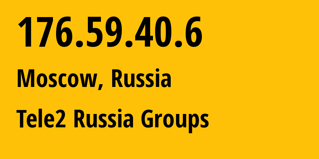IP address 176.59.40.6 (Moscow, Moscow, Russia) get location, coordinates on map, ISP provider AS12958 Tele2 Russia Groups // who is provider of ip address 176.59.40.6, whose IP address