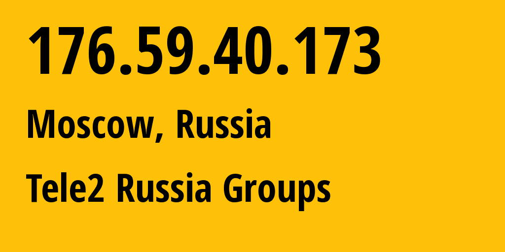 IP address 176.59.40.173 (Moscow, Moscow, Russia) get location, coordinates on map, ISP provider AS12958 Tele2 Russia Groups // who is provider of ip address 176.59.40.173, whose IP address