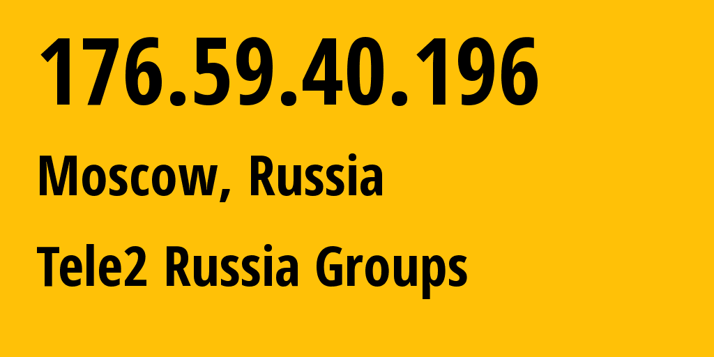 IP address 176.59.40.196 (Moscow, Moscow, Russia) get location, coordinates on map, ISP provider AS12958 Tele2 Russia Groups // who is provider of ip address 176.59.40.196, whose IP address