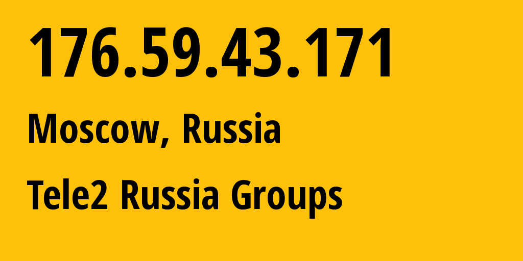 IP address 176.59.43.171 (Moscow, Moscow, Russia) get location, coordinates on map, ISP provider AS12958 Tele2 Russia Groups // who is provider of ip address 176.59.43.171, whose IP address