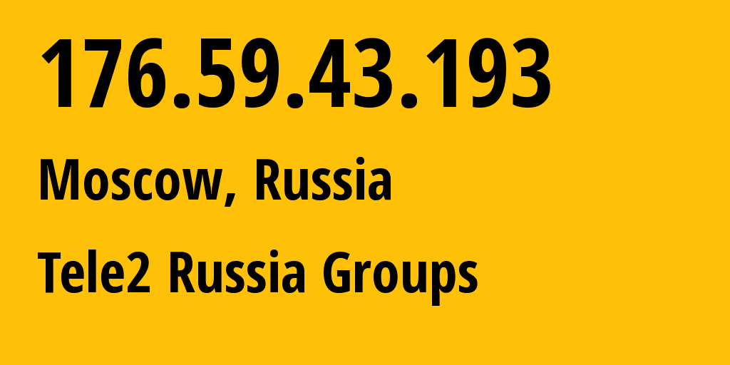 IP address 176.59.43.193 (Moscow, Moscow, Russia) get location, coordinates on map, ISP provider AS12958 Tele2 Russia Groups // who is provider of ip address 176.59.43.193, whose IP address