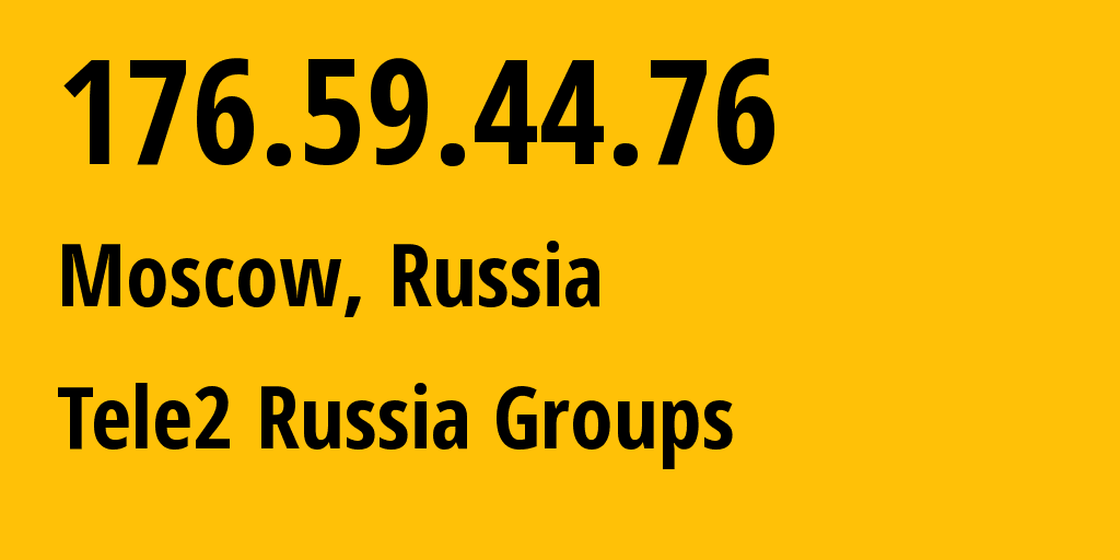 IP address 176.59.44.76 (Moscow, Moscow, Russia) get location, coordinates on map, ISP provider AS12958 Tele2 Russia Groups // who is provider of ip address 176.59.44.76, whose IP address