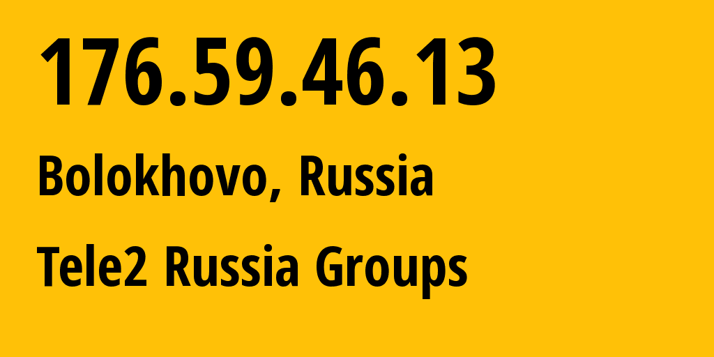 IP address 176.59.46.13 (Moscow, Moscow, Russia) get location, coordinates on map, ISP provider AS12958 Tele2 Russia Groups // who is provider of ip address 176.59.46.13, whose IP address