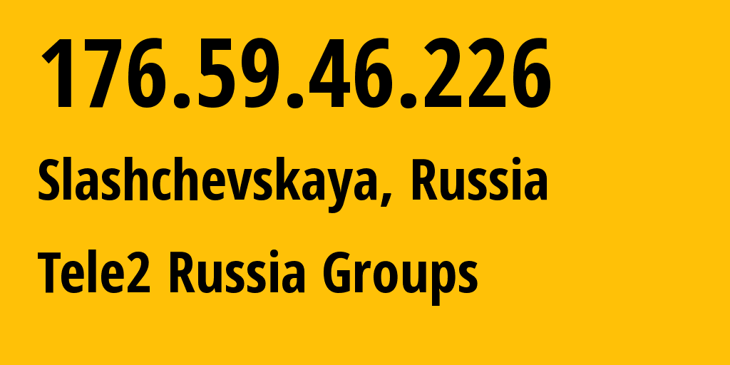 IP address 176.59.46.226 (Moscow, Moscow, Russia) get location, coordinates on map, ISP provider AS12958 Tele2 Russia Groups // who is provider of ip address 176.59.46.226, whose IP address