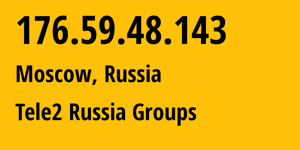 IP address 176.59.48.143 (Moscow, Moscow, Russia) get location, coordinates on map, ISP provider AS12958 Tele2 Russia Groups // who is provider of ip address 176.59.48.143, whose IP address