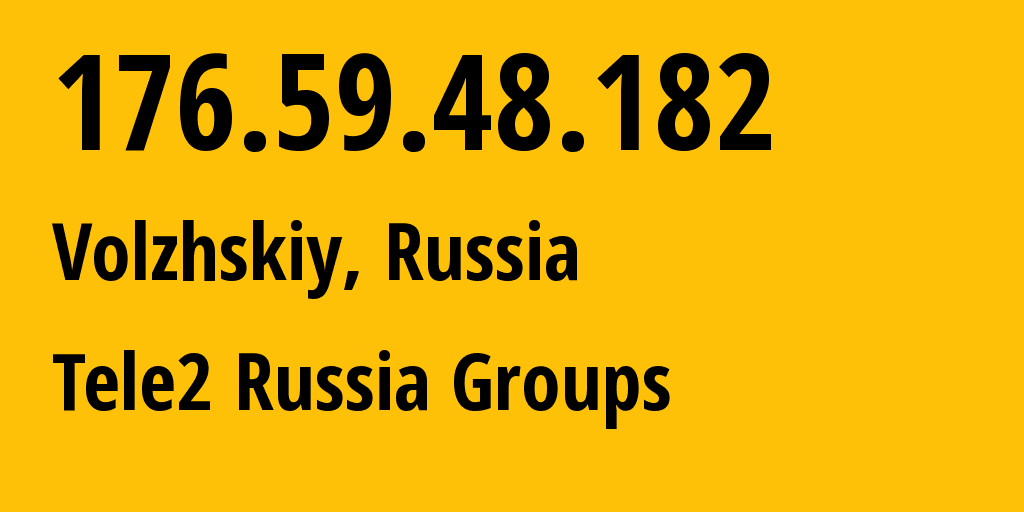 IP address 176.59.48.182 (Moscow, Moscow, Russia) get location, coordinates on map, ISP provider AS12958 Tele2 Russia Groups // who is provider of ip address 176.59.48.182, whose IP address