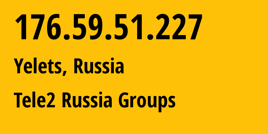 IP address 176.59.51.227 (Moscow, Moscow, Russia) get location, coordinates on map, ISP provider AS12958 Tele2 Russia Groups // who is provider of ip address 176.59.51.227, whose IP address