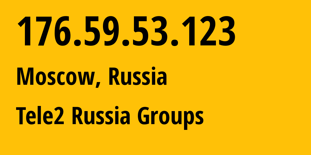 IP address 176.59.53.123 (Moscow, Moscow, Russia) get location, coordinates on map, ISP provider AS12958 Tele2 Russia Groups // who is provider of ip address 176.59.53.123, whose IP address