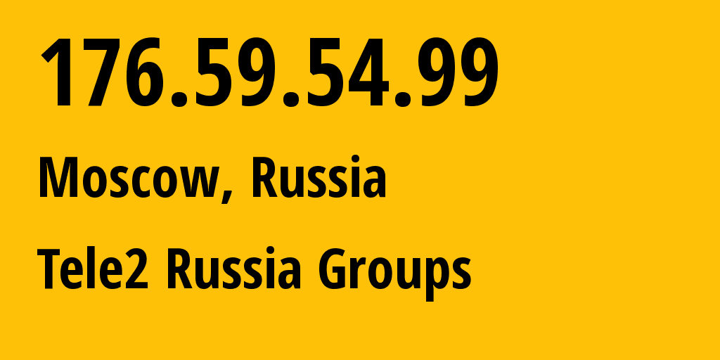IP address 176.59.54.99 (Moscow, Moscow, Russia) get location, coordinates on map, ISP provider AS12958 Tele2 Russia Groups // who is provider of ip address 176.59.54.99, whose IP address