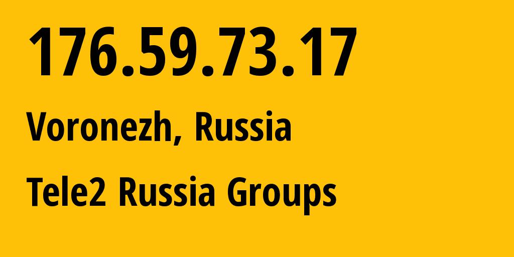 IP address 176.59.73.17 (Voronezh, Voronezh Oblast, Russia) get location, coordinates on map, ISP provider AS42437 Tele2 Russia Groups // who is provider of ip address 176.59.73.17, whose IP address