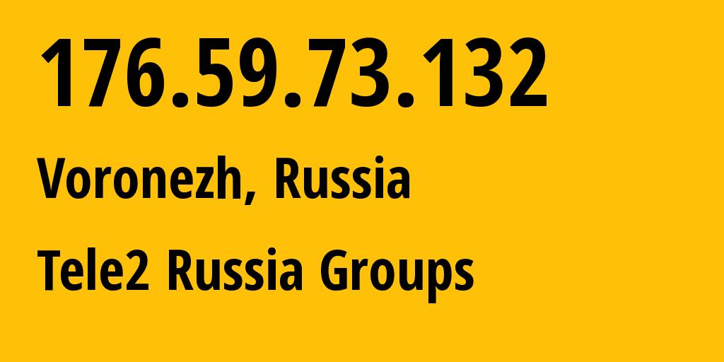 IP address 176.59.73.132 (Rostov-on-Don, Rostov Oblast, Russia) get location, coordinates on map, ISP provider AS42437 Tele2 Russia Groups // who is provider of ip address 176.59.73.132, whose IP address