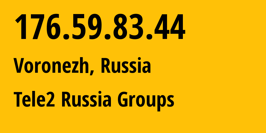 IP address 176.59.83.44 (Rostov-on-Don, Rostov Oblast, Russia) get location, coordinates on map, ISP provider AS42437 Tele2 Russia Groups // who is provider of ip address 176.59.83.44, whose IP address