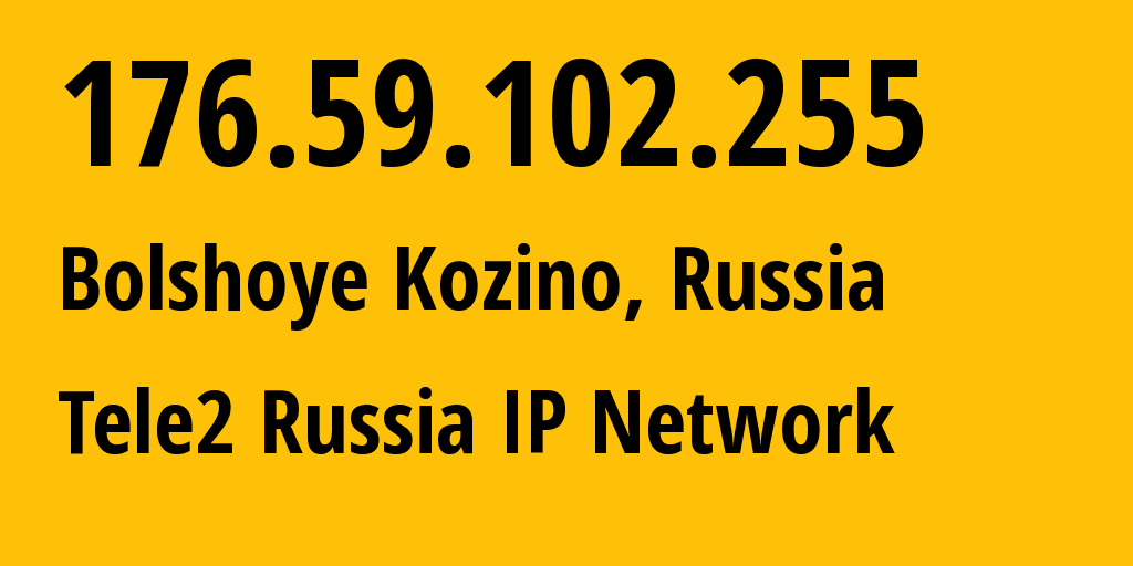 IP address 176.59.102.255 (Kuznechikha, Nizhny Novgorod Oblast, Russia) get location, coordinates on map, ISP provider AS48092 Tele2 Russia IP Network // who is provider of ip address 176.59.102.255, whose IP address