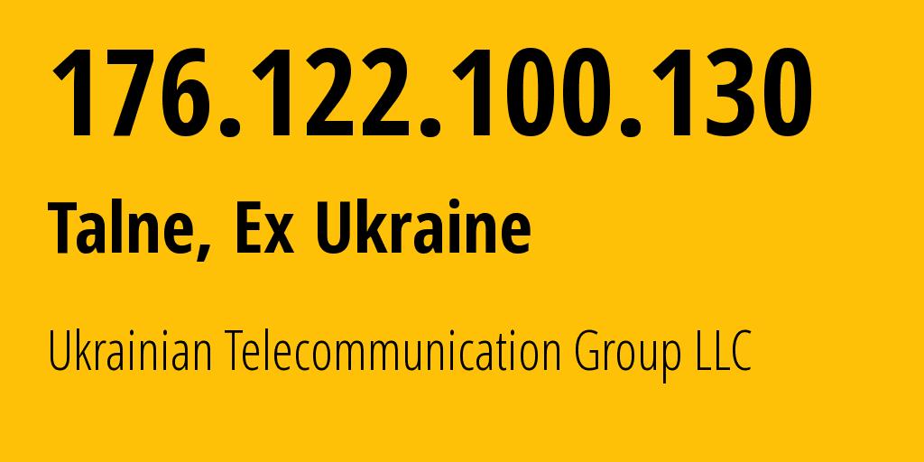 IP address 176.122.100.130 (Malokaterynivka, Zaporizhzhya Oblast, Ukraine) get location, coordinates on map, ISP provider AS50581 Ukrainian Telecommunication Group LLC // who is provider of ip address 176.122.100.130, whose IP address