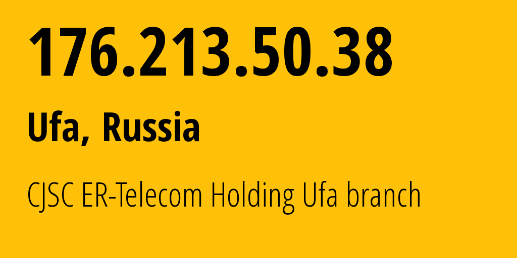 IP address 176.213.50.38 (Ufa, Bashkortostan Republic, Russia) get location, coordinates on map, ISP provider AS51035 CJSC ER-Telecom Holding Ufa branch // who is provider of ip address 176.213.50.38, whose IP address