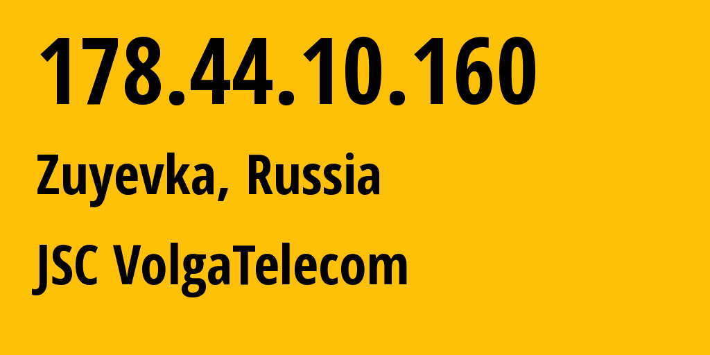 IP address 178.44.10.160 (Omutninsk, Kirovskaya Oblast, Russia) get location, coordinates on map, ISP provider AS12389 JSC VolgaTelecom // who is provider of ip address 178.44.10.160, whose IP address