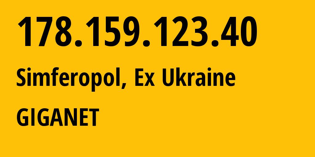 IP address 178.159.123.40 (Simferopol, Crimea, Russia) get location, coordinates on map, ISP provider AS48330 FOP Sinev Maksim Viktorovich // who is provider of ip address 178.159.123.40, whose IP address