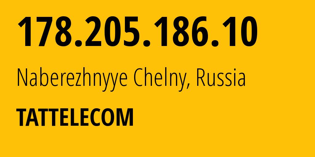 IP address 178.205.186.10 (Naberezhnyye Chelny, Tatarstan Republic, Russia) get location, coordinates on map, ISP provider AS28840 Tattelecom // who is provider of ip address 178.205.186.10, whose IP address