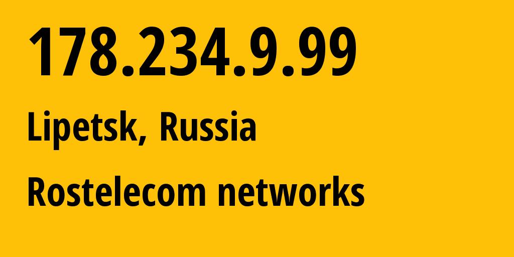 IP address 178.234.9.99 (Lipetsk, Lipetsk Oblast, Russia) get location, coordinates on map, ISP provider AS8570 Address point-to-point Lipetsk Regional Public Network BBN-3/1/1/1/1 // who is provider of ip address 178.234.9.99, whose IP address