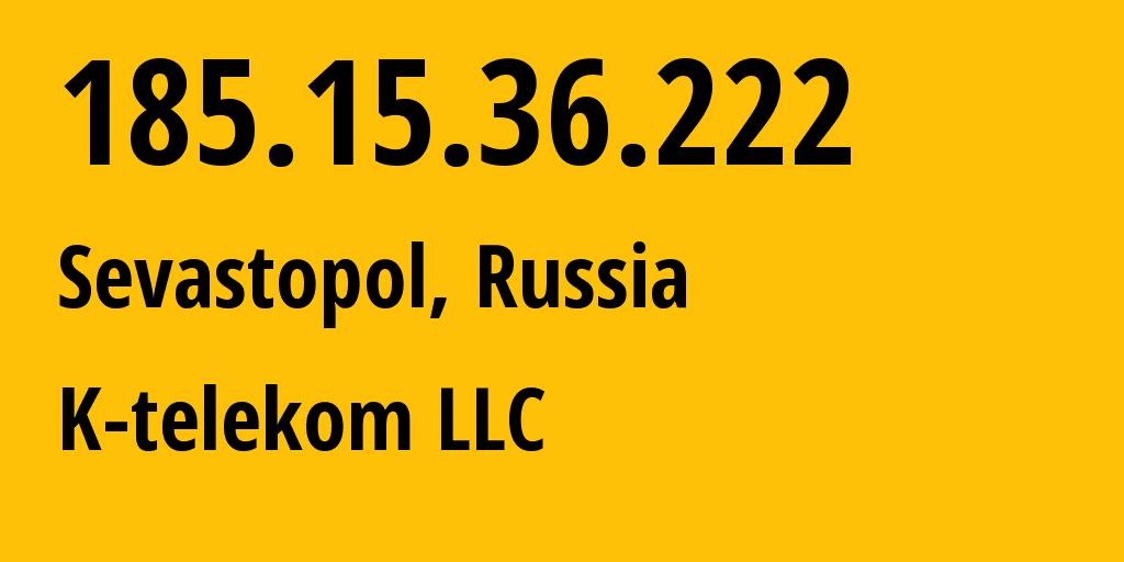 IP address 185.15.36.222 (Krasnodar, Krasnodarskiy Kray, Russia) get location, coordinates on map, ISP provider AS203451 K-telekom LLC // who is provider of ip address 185.15.36.222, whose IP address