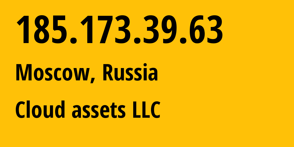 IP address 185.173.39.63 (Moscow, Moscow, Russia) get location, coordinates on map, ISP provider AS50473 Production network // who is provider of ip address 185.173.39.63, whose IP address