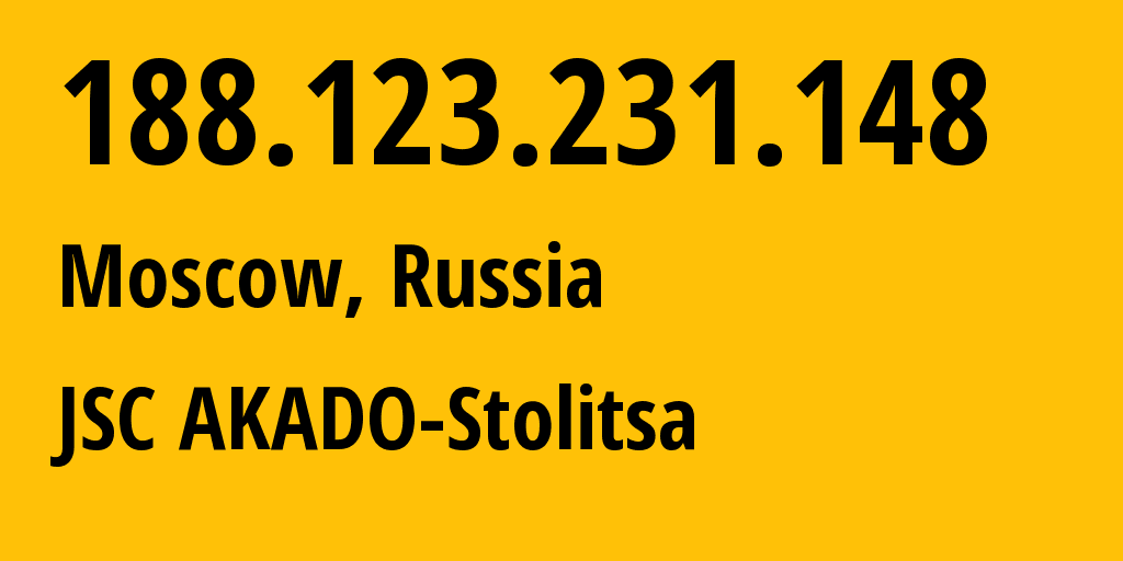 IP address 188.123.231.148 (Moscow, Moscow, Russia) get location, coordinates on map, ISP provider AS15582 JSC AKADO-Stolitsa // who is provider of ip address 188.123.231.148, whose IP address