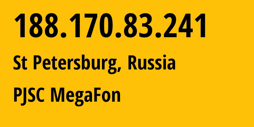 IP address 188.170.83.241 (St Petersburg, St.-Petersburg, Russia) get location, coordinates on map, ISP provider AS31213 MegaFon // who is provider of ip address 188.170.83.241, whose IP address