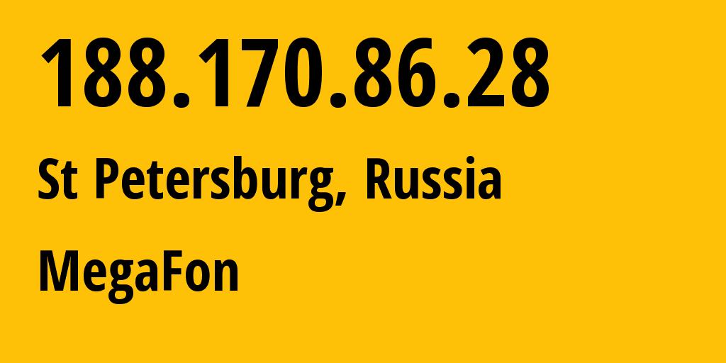 IP address 188.170.86.28 (St Petersburg, St.-Petersburg, Russia) get location, coordinates on map, ISP provider AS31213 MegaFon // who is provider of ip address 188.170.86.28, whose IP address