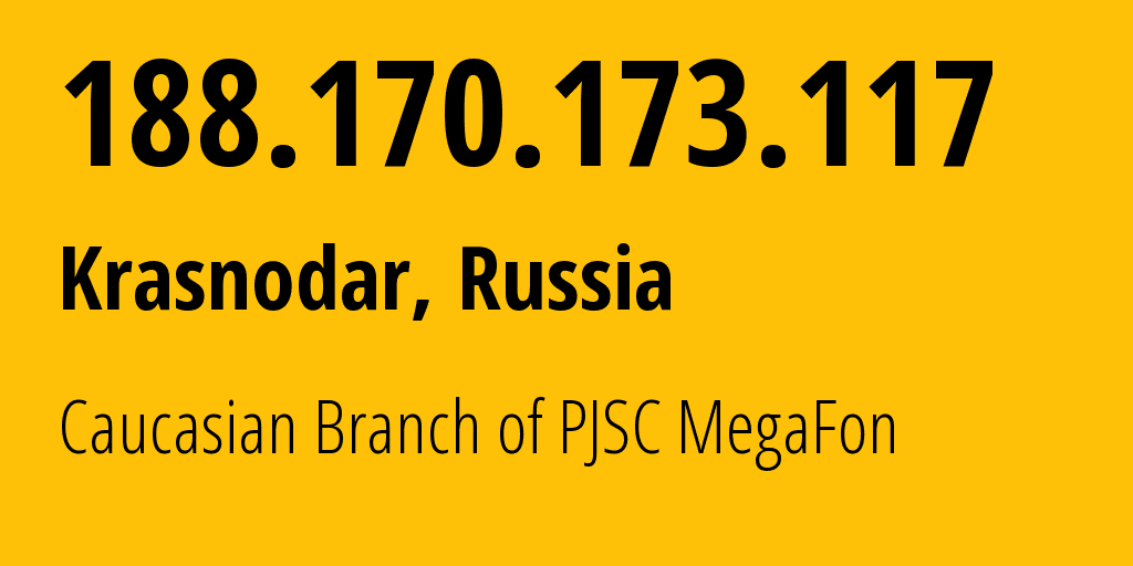 IP address 188.170.173.117 (Samara, Samara Oblast, Russia) get location, coordinates on map, ISP provider AS31163 Caucasian Branch of PJSC MegaFon // who is provider of ip address 188.170.173.117, whose IP address
