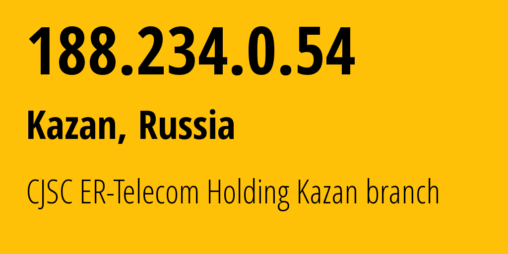 IP address 188.234.0.54 (Kazan, Tatarstan Republic, Russia) get location, coordinates on map, ISP provider AS41668 CJSC ER-Telecom Holding Kazan branch // who is provider of ip address 188.234.0.54, whose IP address