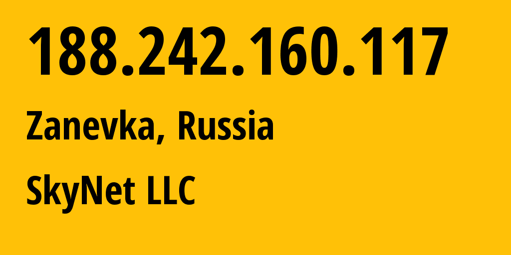 IP address 188.242.160.117 (St Petersburg, St.-Petersburg, Russia) get location, coordinates on map, ISP provider AS35807 SkyNet LLC // who is provider of ip address 188.242.160.117, whose IP address