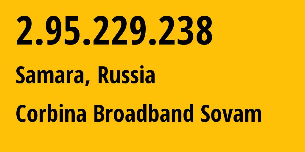 IP address 2.95.229.238 (Samara, Samara Oblast, Russia) get location, coordinates on map, ISP provider AS3216 Corbina Broadband Sovam // who is provider of ip address 2.95.229.238, whose IP address