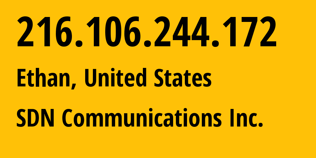 IP address 216.106.244.172 (Alpena, South Dakota, United States) get location, coordinates on map, ISP provider AS13576 SDN Communications Inc. // who is provider of ip address 216.106.244.172, whose IP address