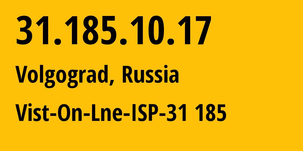 IP address 31.185.10.17 (Volgograd, Volgograd Oblast, Russia) get location, coordinates on map, ISP provider AS41344 Vist-On-Lne-ISP-31 185 // who is provider of ip address 31.185.10.17, whose IP address