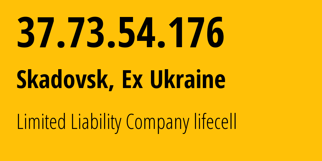 IP address 37.73.54.176 (Novhorod-Siverskyy, Chernihiv, Ukraine) get location, coordinates on map, ISP provider AS34058 Limited Liability Company lifecell // who is provider of ip address 37.73.54.176, whose IP address