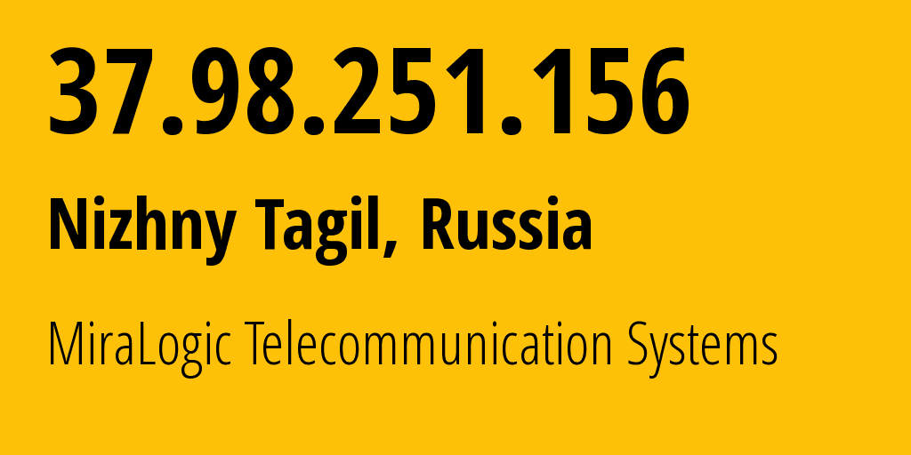 IP address 37.98.251.156 (Nizhny Tagil, Sverdlovsk Oblast, Russia) get location, coordinates on map, ISP provider AS12668 MiraLogic Telecommunication Systems // who is provider of ip address 37.98.251.156, whose IP address