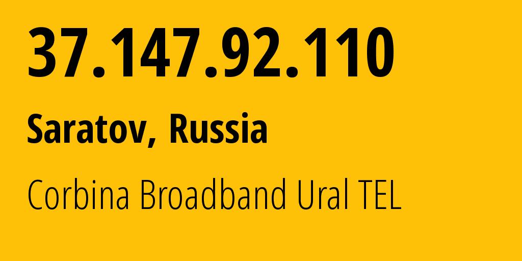IP address 37.147.92.110 (Krasnodar, Krasnodarskiy Kray, Russia) get location, coordinates on map, ISP provider AS3216 Corbina Broadband Ural TEL // who is provider of ip address 37.147.92.110, whose IP address