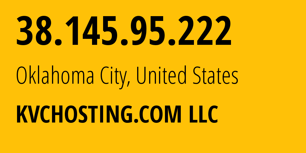 IP address 38.145.95.222 (Oklahoma City, Oklahoma, United States) get location, coordinates on map, ISP provider AS395111 Cogent Communications // who is provider of ip address 38.145.95.222, whose IP address